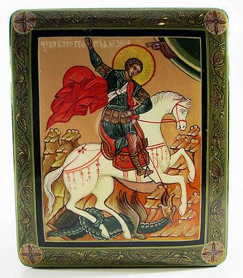 """Lacquer box """"Saint George the Victorious"""" Hand Painted Author's Work #299"""