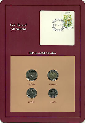 GHANA - Coin Sets of All Nations - 4 Coins + STAMP with POSTMARK, INTERESTING!