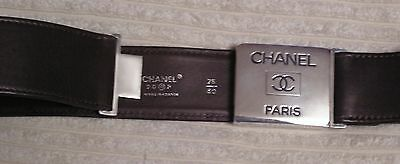 Chanel Ladies Brown Leather Belt with silver buckle