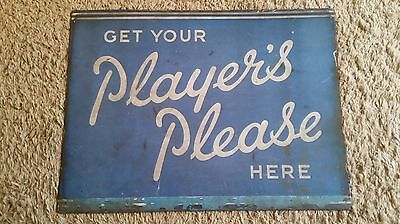 Vintage Enamel Advertising Sign Players Please Cigarettes Double Sided Sign
