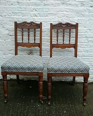 2 x  EDWARDIAN CARVED OAK  DINING CHAIRS