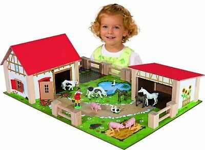 Wooden Toy Farm Set 25 Piece Multi-Colour Kids Toys Play Houses and Animals Gift