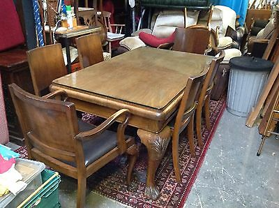 Antique Burr Walnut Dining Table Lion Feet 6 Chairs Carvers Glass Top Christmas