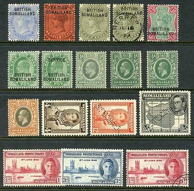 Somaliland QV - GVI Mint and Used inc SG117a Used & Perf Specimen Stamps