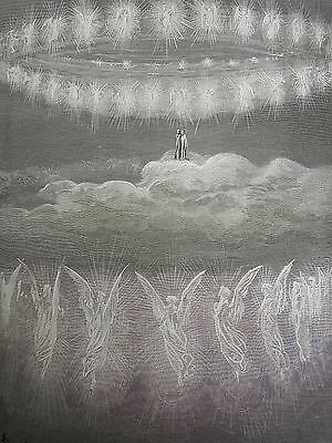 Dante's Paradise by Gustave Dore Antique Print circa 1880 Angels (142)