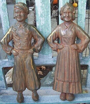 Antique Cast Iron ANDIRONS DUTCH BOY & GIRL 3694 - COUPLE ONLY (no back stands)