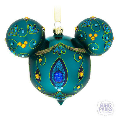Disney Parks Mickey Mouse Icon Peacock Glass Ornament