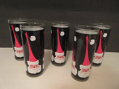 Set of 5 Libbey Santa Claus Drinking Glasses Holt Howard Dairy Queen Style