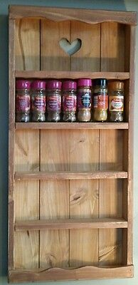 Wooden / Copper rustic Country Cottage Spice Rack 5 Tiers - Storage - Wall - Kit
