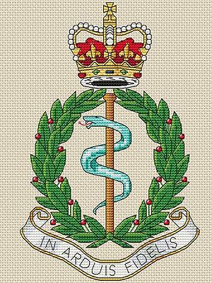 "4x8/"", 10x20cm,kit or chart Royal Army Ordnance Corps Cross Stitch Design"