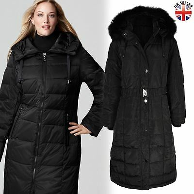 Ladies Womens Plus Size Fur Hooded Quilted Padded Winter Coat Puffa Jacket Parka