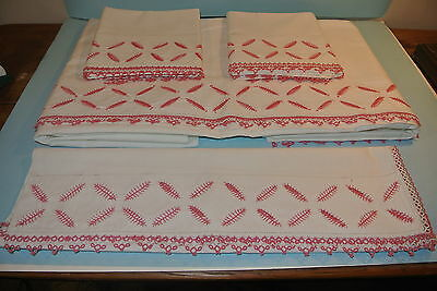 Antique Sheet & 2 Pillow Cases dresser scarf  Pink Tatted Trim  Unique & Lovely!