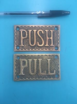 Two Brass Door Plates PUSH PULL Heavy Cast Brass store Gas Station