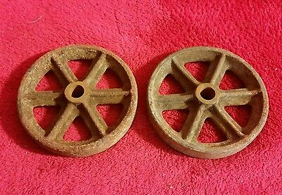 """Pair Of Vintage Platform Barn Scale 4.5"""" Cast Iron Wheels For Hit Miss Cart"""