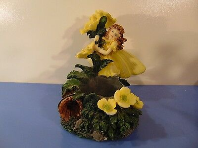 Fairy Blossoms Votive Candle Holder Yellow Fairy And Flowers