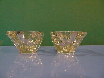 Vintage Set Of 2 Clear Glass Candlestick Holders