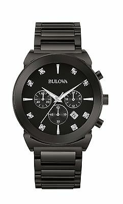 Bulova Men's 98D123 Diamond Markers Chronograph Black Stainless Steel 41mm Watch