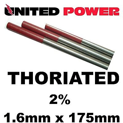 5 electrodes 1.6 mm X 175mm  2% Thoriated Tungsten TIG  Electrode Red Tip  WT20/