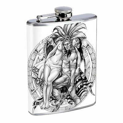 Aztec Warrior D8 Flask 8oz Stainless Steel Hip Drinking Whiskey Rum Scotch