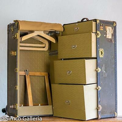 Vintage 1920s OSHKOSH Steamer TRUNK + Key Wardrobe BRASS RIVETS leather TABLE