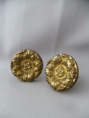 Shabby Vtg Chic Solid Brass Flower Drapes Curtain Tie Back Pair