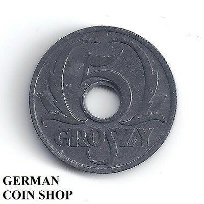 Germany Drittes Reich Generalgouvernement Polen 5 Groszy 1939 - Sehr selten!