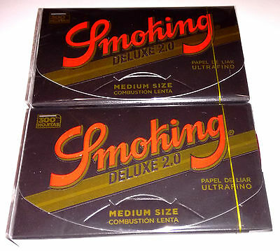2 X Smoking DELUXE 2.0-300 hojas -Papel fumar,cigarette paper -Total600 leaves