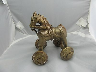 Antique Brass India Toy Horse Wheels Rolling Figurine Statue Ornate UNIQUE