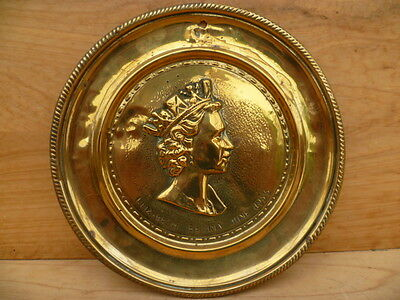 Vintage Old 1953 Queen Elizabeth Coronation Plate, Brass Plaque (C82)