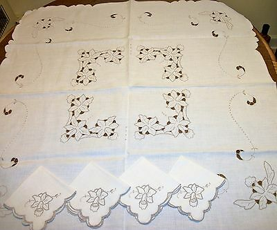 Antique Irish Linen Tablecloth and 4 Napkins Ivory Cutwork Hand Embroidery