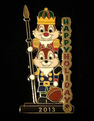 LE Chip n & and Dale 2013 Christmas Tier Nutcracker Happy Holidays Disney Pin