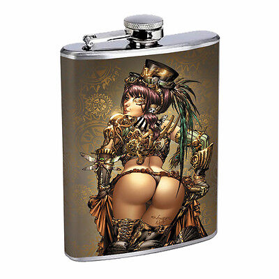 Savage Pirate Pin Up D4 Flask 8oz Stainless Steel Hip Drinking Whiskey Rum