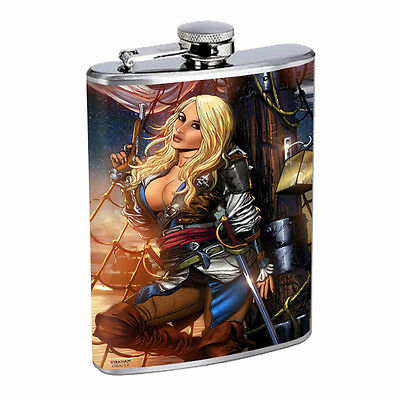 Savage Pirate Pin Up D8 Flask 8oz Stainless Steel Hip Drinking Whiskey Rum