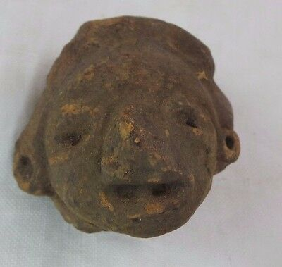 Pre Columbian Colombian Mayan Terracotta Figure Head  #19