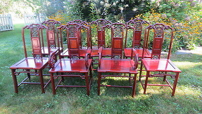 Vintage set of 8 Chinese Hardwood Chairs   *Top Quality & Exceptional Condition*