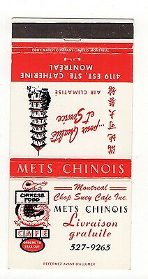 Montreal Chop Suey Cafe Mets Chinois Montreal Canada, Vtg Matchbook Cover Jan16