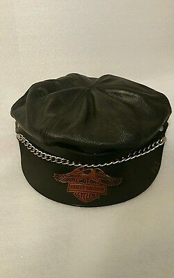 Vintage Harley Davidson Leather Captains Hat Med to Large Adjustable