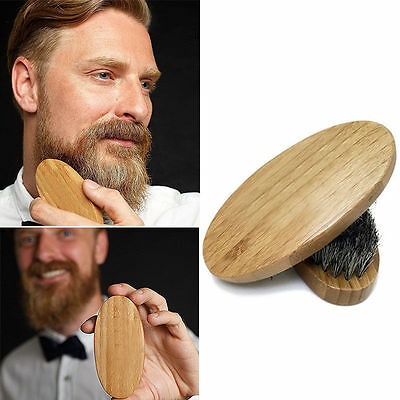 Mens Boar Hair Bristle Hard Round Wood Handle Beard Mustache Stylling Brush Tool