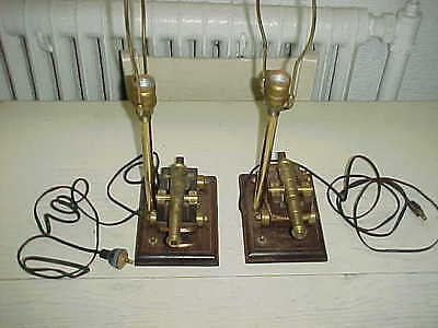 2 Vintage Brass Canon Military War Table Lamps Lights Fixture Electric Army
