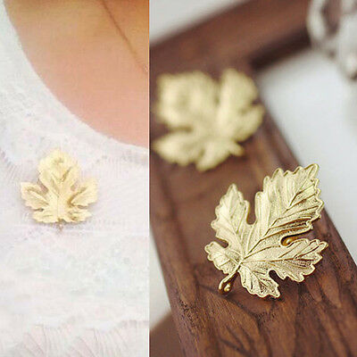 Women Fashion Jewelry Vintage Brooch Gold Plated Maple Leaf Brooches Pins