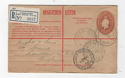 1930 KGV EMBOSSED OVAL 5d BROWN WITH BLUE REG LABEL TO ENGLAND ~  #109732