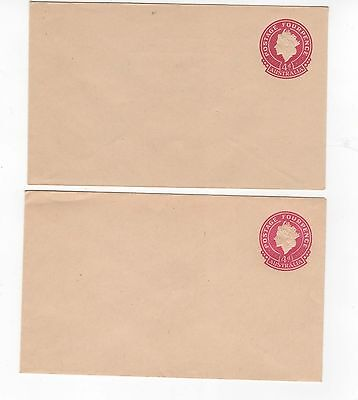 1953 ENVELOPES (2) QEII SMALL (25mm) 4d CARMINE ON BROWN-BUFF STOCK.~  #200097