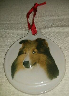 ��New�� Ceramic Sheltie Dog ��Christmas�� Holiday Ornament 3""