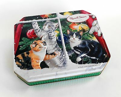 HINGED Tin Christmas Holiday RUSSELL STOVER CAT KITTEN 3 Dimensional PERSIS WEIR