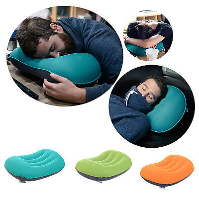 Portable Outdoor Air Inflatable Sleep Travel Aeros Pillow Cushion Neck Protect