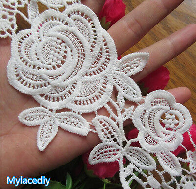 1 yd Vintage Flower Rose Embroidered Lace Edge Trim Ribbon Wedding Applique DIY