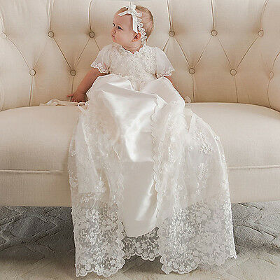 2017 White Lace Baby Robe Baptism Dresses White Ivory Infant Christening Gown