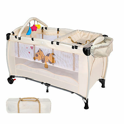 Portable Infant Child Baby Travel Cot Bed Playpen Bassinet with Entryway Beige