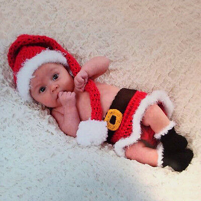 Crochet Newborn Photography Christmas Santa Knit Hat Costume Baby Photo Props