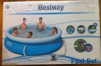 BESTWAY 10ft x 30in FAST SET ROUND SWIMMING POOL WITH FILTER PUMP 57270